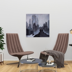 Canvas 24 x 24 - Illustrative gray city