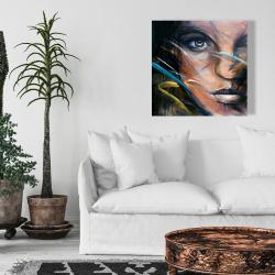 Toile 24 x 24 - Visage de femme coloré