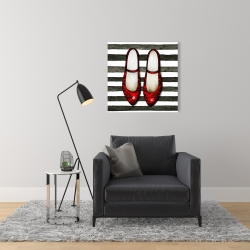 Canvas 24 x 24 - Red glossy shoes on striped background