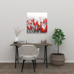 Canvas 24 x 24 - Abstract red tulips