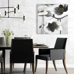 Toile 24 x 24 - Fleurs en noir et black