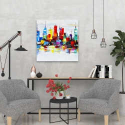 Canvas 24 x 24 - Abstract and colorful city