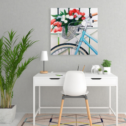 Canvas 24 x 24 - Bicycle with tulips flowers in basket