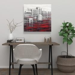 Toile 24 x 24 - Ville grise avec nuages rouges