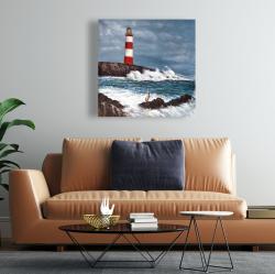 Toile 24 x 24 - Phare au bord de la mer déchaînée