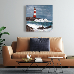 Canvas 24 x 24 - Lighthouse at the edge of the sea unleashed
