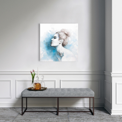 Canvas 24 x 24 - Watercolor abstract girl profile view