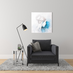 Canvas 24 x 24 - Watercolor abstract girl with hair bun
