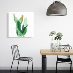 Canvas 24 x 24 - Watercolor paddle cactus with flower