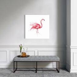 Canvas 24 x 24 - Pink flamingo watercolor