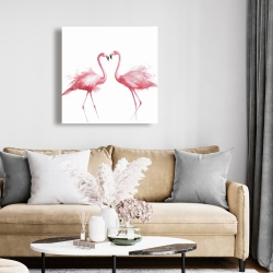 Canvas 24 x 24 - Two pink flamingo watercolor