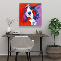 Canvas 24 x 24 - Abstract colorful basset dog