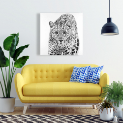 Canvas 24 x 24 - Leopard ready to attack
