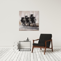 Canvas 24 x 24 - Group of running bulls