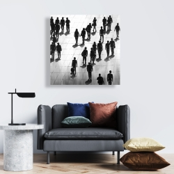 Canvas 24 x 24 - Silhouettes of people on the street