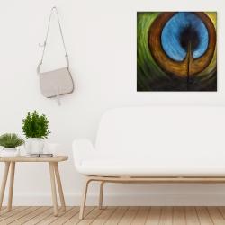 Canvas 24 x 24 - Peacock feather center