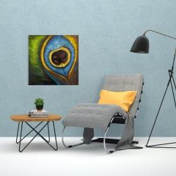 Canvas 24 x 24 - Peacock feather closeup