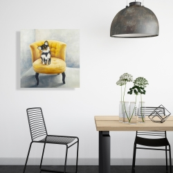 Canvas 24 x 24 - Long haired chihuahua on a yellow armchair