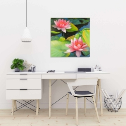 Canvas 24 x 24 - Water lilies and lotus flowers