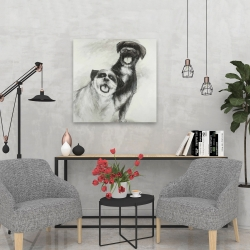 Canvas 24 x 24 - Happy dogs sketch