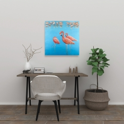 Canvas 24 x 24 - Group of flamingos