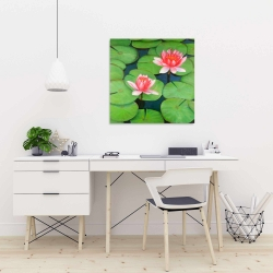 Canvas 24 x 24 - Lotus flowers in a swamp