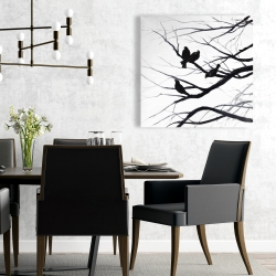 Canvas 24 x 24 - Birds and branches silhouette