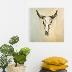 Canvas 24 x 24 - Color fading bull skull