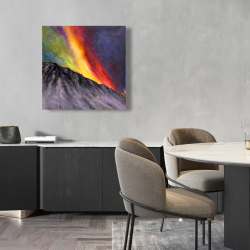 Canvas 24 x 24 - Aurora borealis in the mountain
