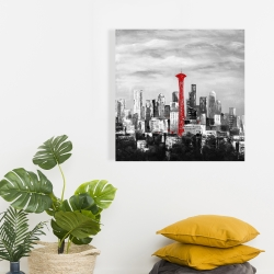 Canvas 24 x 24 - Space needle in red