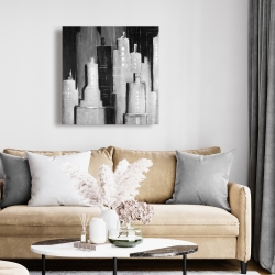 Canvas 24 x 24 - Abstract black and white cityscape
