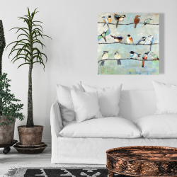 Canvas 24 x 24 - Small colorful birds
