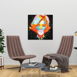 Canvas 24 x 24 - Colorful maryline monroe bubblegum