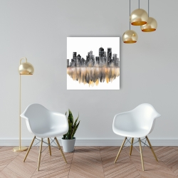 Canvas 24 x 24 - Yellow watercolor cityscape