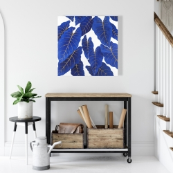 Canvas 24 x 24 - Tropical abstract blue leaves
