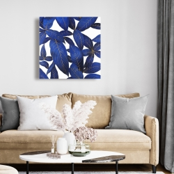 Canvas 24 x 24 - Abstract modern blue leaves