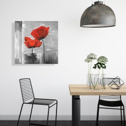 Canvas 24 x 24 - Two red flowers on a grayscale background