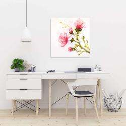 Canvas 24 x 24 - Watercolor magnolia flowers