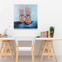 Canvas 24 x 24 - Funny pineapples with sunglasses