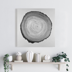 Canvas 24 x 24 - Grayscale round wood log
