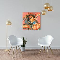 Canvas 24 x 24 - Sensual tanned lady with paint splash