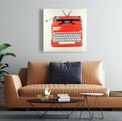 Canvas 24 x 24 - Red typewritter machine