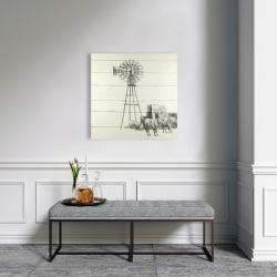 Canvas 24 x 24 - Vintage old texas windmill
