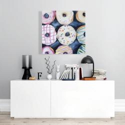 Canvas 24 x 24 - Watercolor delicious looking doughtnuts