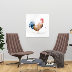 Canvas 24 x 24 - Rooster watercolor style
