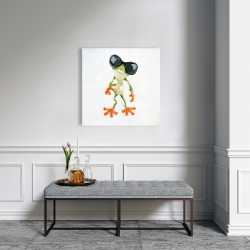 Canvas 24 x 24 - Funny frog with sunglasses