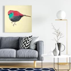 Canvas 24 x 24 - Little purple bird illustration