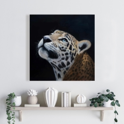 Canvas 24 x 24 - Realistic leopard face