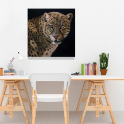 Canvas 24 x 24 - Realistic fierce leopard