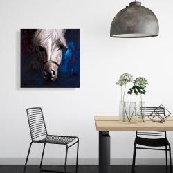 White horse on blue background